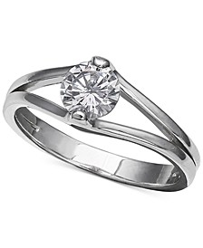 Cubic Zirconia Solitaire Ring in Sterling Silver, Created for Macy's