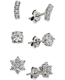 Cubic Zirconia 3-Piece Stud Earring Set in Sterling Silver, Created for Macy's