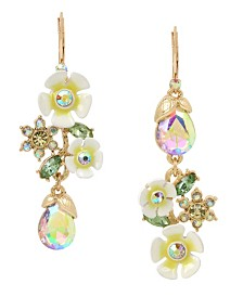 Betsey Johnson Flower & Stone Mismatch Linear Earrings