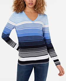 Tommy Hilfiger Striped V-Neck Top, Created for Macy's