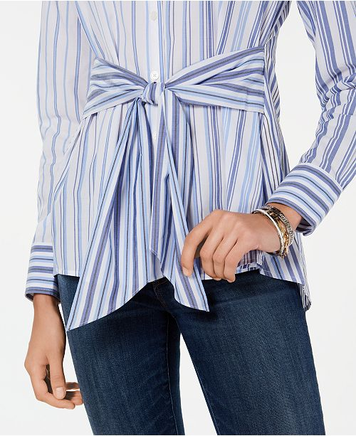 2a308b10 Tommy Hilfiger Tie-Waist Button-Down Tunic Top, Created for Macy's ...