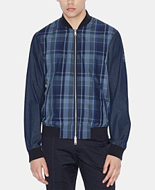 Men's Mix-Media Blue Tartan Bomber Jacket