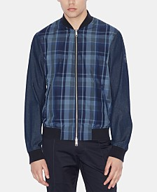 A|X Armani Exchange Men's Mix-Media Blue Tartan Bomber Jacket