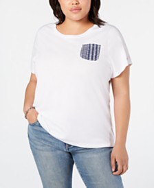 Tommy Hilfiger Plus Size Cotton Eyelet-Pocket Top, Created for Macy's