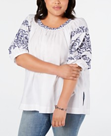 Tommy Hilfiger Plus Size Embroidered Smocked Top