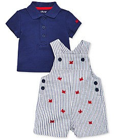 Little Me Baby Boys 2-Pc. Cotton Polo Shirt & Shortall Set
