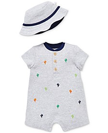 Baby Boys 2-Pc. Henley Cactus Romper & Bucket Hat Set