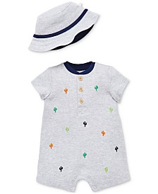Little Me Baby Boys 2-Pc. Henley Cactus Romper & Bucket Hat Set