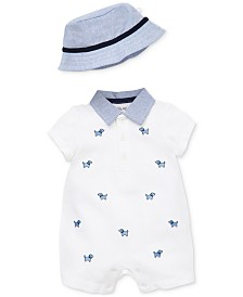 Little Me Baby Boys 2-Pc. Cotton Puppy Romper & Hat Set
