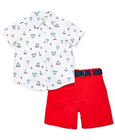 Little Me Baby Boys 3-Pc. Cotton Shirt, Belt & Shorts Set