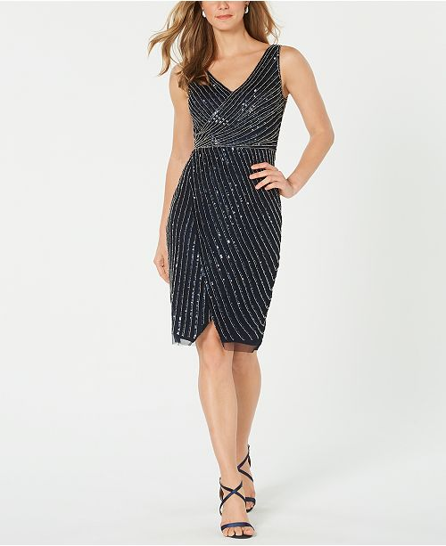 Adrianna Papell Embellished Cutaway Sheath Dress