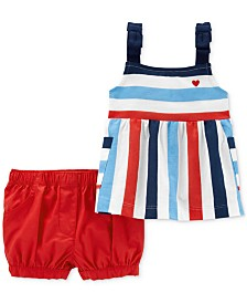 Carter's Baby Girls 2-Pc. Cotton Striped Top & Shorts Set