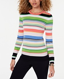 Tommy Hilfiger Striped Cotton Button-Detail Sweater, Created for Macy's