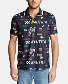 Nautica Men's Hydro Classic-Fit Moisture-Wicking Logo-Print Piqué Polo