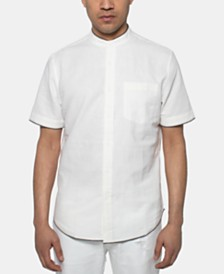 Sean John Men's White Party Regular-Fit Band-Collar Shirt