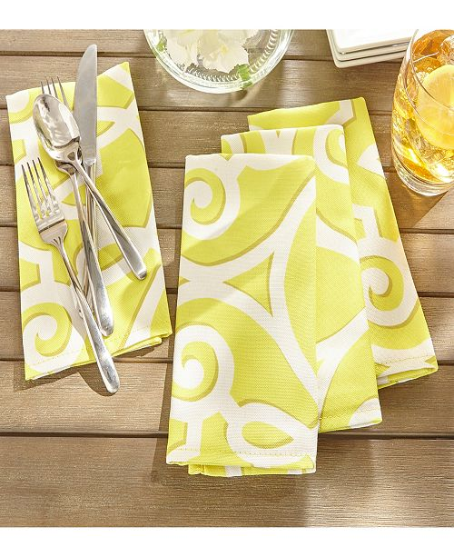 """Elrene Chase Geometric Stain Resistant Indoor Outdoor 17""""X 17"""" Napkin - Set of 8"""