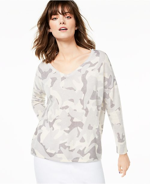 Charter Club Cashmere Printed V-Neck Sweater, Created for Macy's