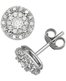 Diamond Double Halo Stud Earrings (1/4 ct. t.w.) in 14k White Gold
