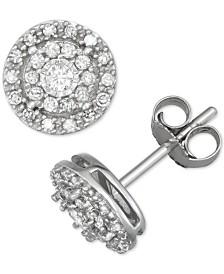 Diamond Double Halo Stud Earrings (1/4 ct. t.w.) in 14k White Gold