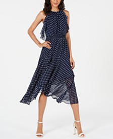 Vince Camuto Tiered Handkerchief-Hem Dress