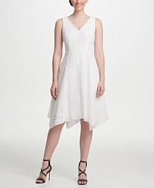 DKNY Eyelet Fit & Flare Dress