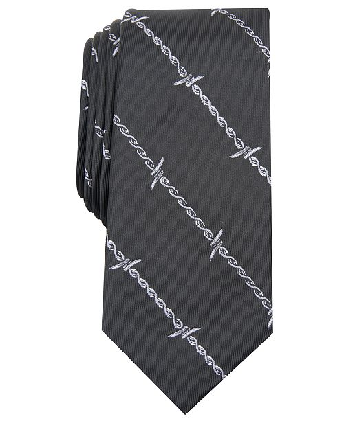 INC International Concepts INC Men's Barbed Wire Graphic Tie, Created for Macy's