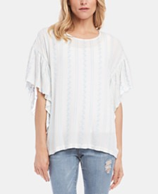 Karen Kane Embroidered Cascade-Ruffled Top