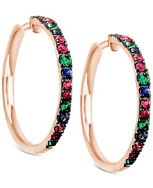 Multi-Gemstone (9/10 ct. t.w.) Hoop Earrings in 14k Rose Gold