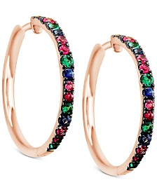 Le Vian® Multi-Gemstone (9/10 ct. t.w.) Hoop Earrings in 14k Rose Gold
