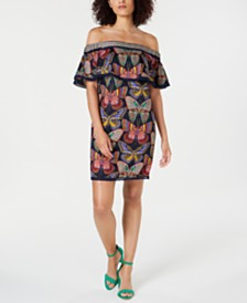 Trina Turk Printed Off-The-Shoulder Cotton Shift Dress