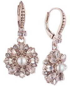 Marchesa Rose Gold-Tone Crystal Drop Earrings