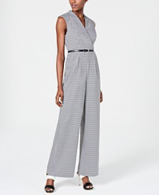 Mini-Check Belted Jumpsuit