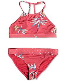 Roxy Big Girls 2-Pc. Printed Crop Top Swim Set