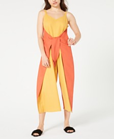 Royalty Clothing Brand Linen Tie-Front Jumpsuit