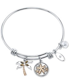 "Marcasite Palm Tree & ""Life's a beach ride the waves"" Charm Bangle Bracelet in Silver-Plate Stainless Steel and Rose Gold-Tone"