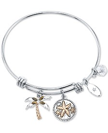 "Unwritten Marcasite Palm Tree & ""Life's a beach ride the waves"" Charm Bangle Bracelet in Silver-Plate Stainless Steel and Rose Gold-Tone"