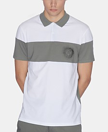A|X Armani Exchange Men's Slim-Fit Stretch Colorblocked Logo-Print Polo
