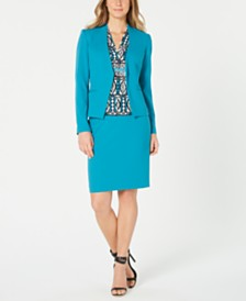Calvin Klein Crepe Jacket, Printed Top & Pencil Skirt