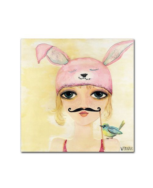 "Trademark Global Wyanne 'Big Eyed Girl Be Yourself' Canvas Art - 14"" x 14"""