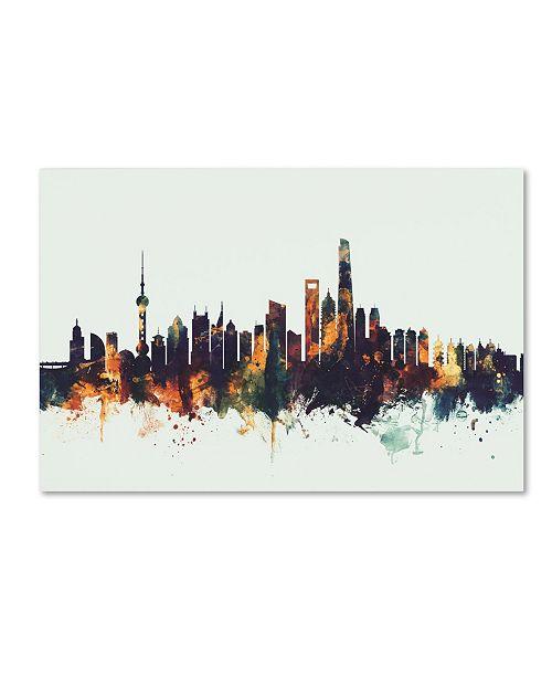 "Trademark Global Michael Tompsett 'Shanghai China Skyline V' Canvas Art - 12"" x 19"""
