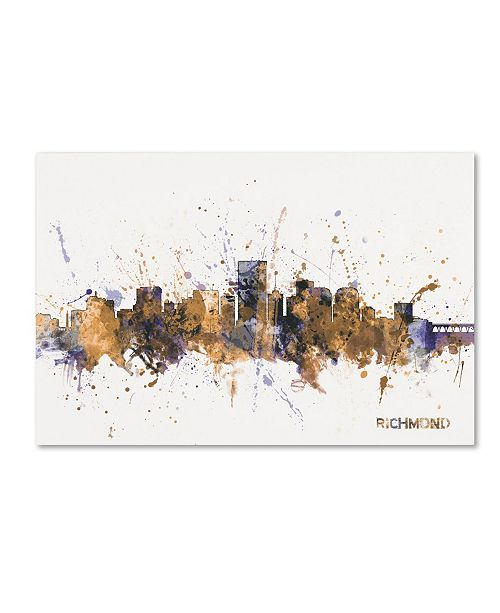 "Trademark Global Michael Tompsett 'Richmond Virginia Skyline II' Canvas Art - 12"" x 19"""