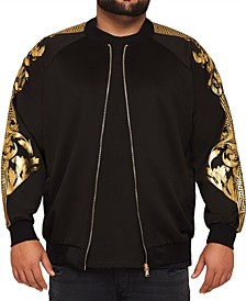 MVP Collections Men's Big & Tall Gold Print Sleeve Bomber Jacket