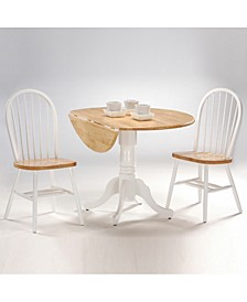 """42"""" Dual Drop Leaf Table With 2 Windsor Chairs"""