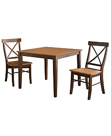 International Concepts 36X36 Dining Table With 2 X-Back Chairs