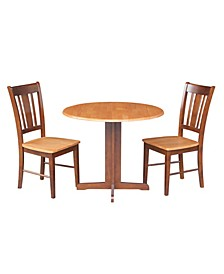 """36"""" Dual Drop Leaf Table With 2 San Remo Chairs"""