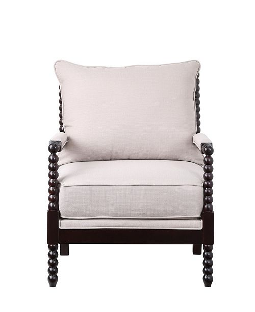 Lifestyle Solutions Cambridge Accent Chair With Upholstery Fabric and Wooden Frame