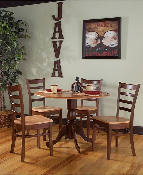 """WHITEWOOD INDUSTRIES/INTNL CONCEPTS International Concepts 42"""" Dual Drop Leaf Table With 4 Emily Chairs"""