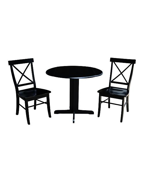 Awesome International Concepts 36 Dual Drop Leaf Table With 2 X Back Chairs Gmtry Best Dining Table And Chair Ideas Images Gmtryco