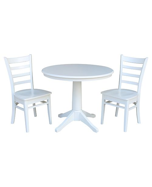 "WHITEWOOD INDUSTRIES/INTNL CONCEPTS International Concepts 36"" Round Top Pedestal Table - With 2 Emily Chairs"