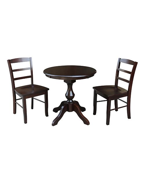 """WHITEWOOD INDUSTRIES/INTNL CONCEPTS International Concepts 30"""" Round Top Pedestal Table- With 2 Madrid Chairs"""
